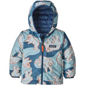 Patagonia Käännettävä Untuvatakki Hupullinen Vauva Lapset, polar bears play/woolly blue
